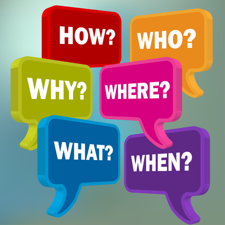 pronunciation: Speech bubbles in perspective colorful question HOW WHO WHAT WHY WHERE WHEN on a blue bokeh background
