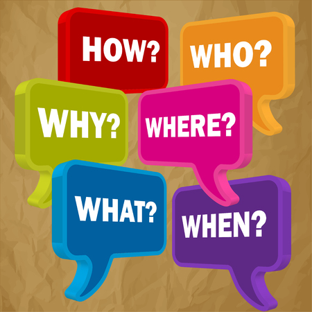pronunciation: Speech bubbles in perspective colorful question HOW WHO WHAT WHY WHERE WHEN on a crumpled paper brown background