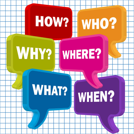 pronunciation: Speech bubbles in perspective colorful question HOW WHO WHAT WHY WHERE WHEN on a checkered paper background Illustration