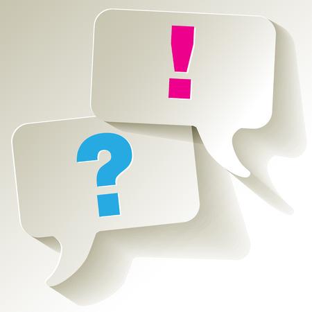 Speech bubbles questionmark blue exclamation pink