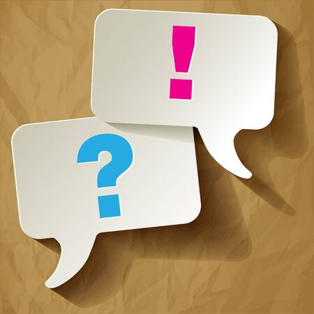 questions: Speech bubbles questionmark blue exclamation pink on a crumpled paper brown background