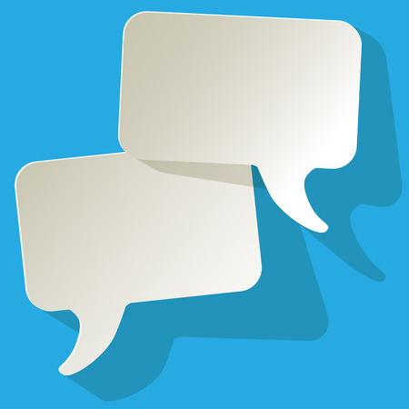 arbitration: chat speech bubbles vector white FreeSpace on a blue background