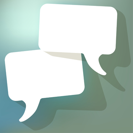 arbitration: chat speech bubbles vector white FreeSpace on a blue bokeh background