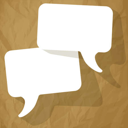 arbitration: chat speech bubbles white FreeSpace on a crumpled paper brown