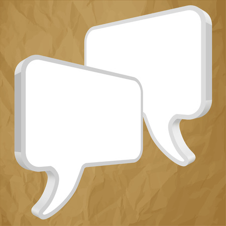 pronunciation: Speech bubbles in perspective on white crumpled paper brown background
