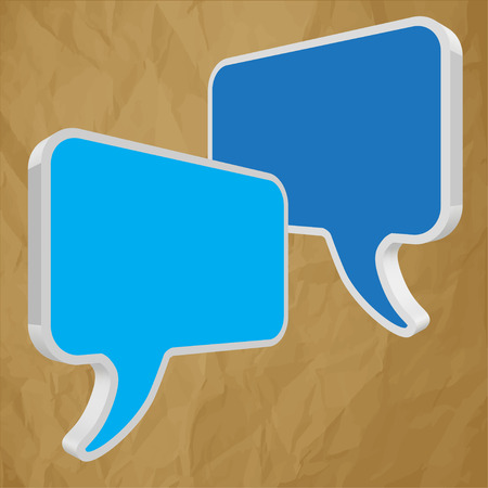pronunciation: Speech bubbles in perspective blue crumpled paper on brown