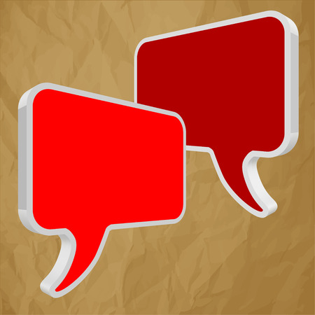 pronunciation: Speech bubbles in perspective red on crumpled paper brown  Illustration