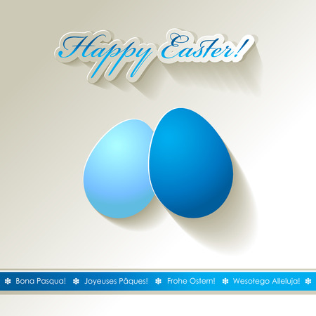 Happy Easter eggs scrapbook postcard white blue