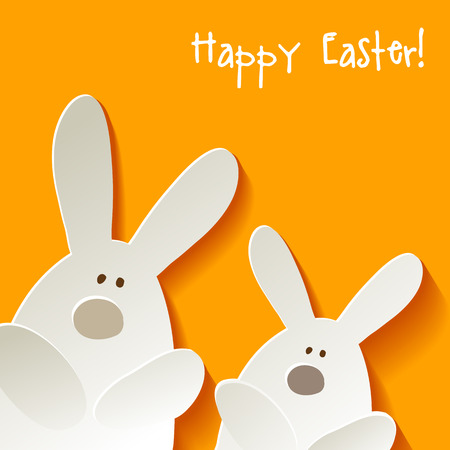 egg cartoon: Feliz conejito Conejo de Pascua en una postal de fondo amarillo Vectores