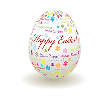 multilingual: Happy Easter greetings colorful multilingual on a white egg Illustration