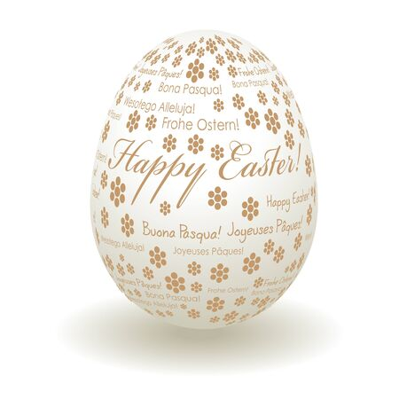 multilingual: Happy Easter greetings on a white gold multilingual egg Illustration