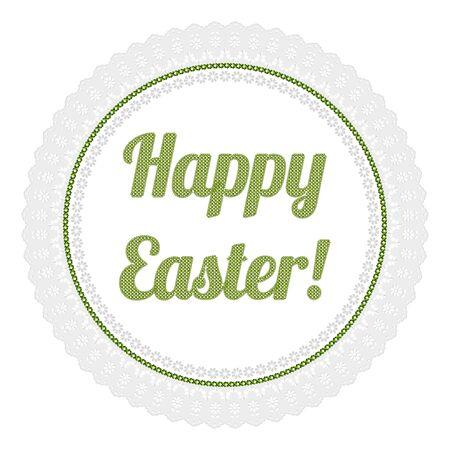 cross stitch: Happy Easter cross stitch green openwork napkin