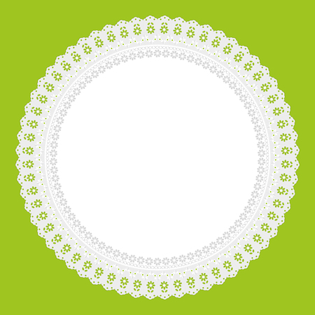 white napkin: openwork white napkin on green background