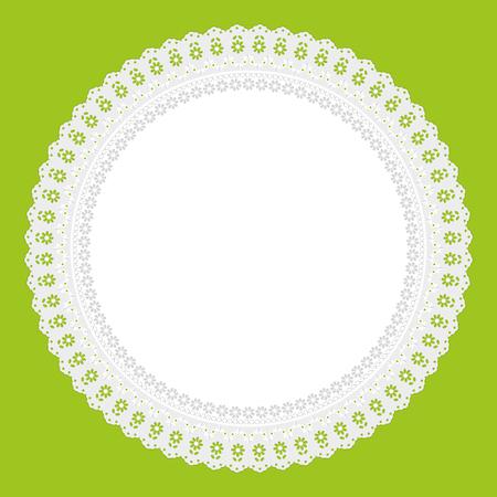 napkin: openwork white napkin on green background