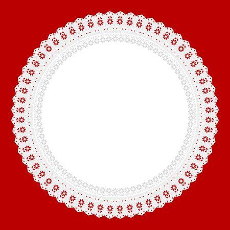 openwork: white openwork napkin on red background