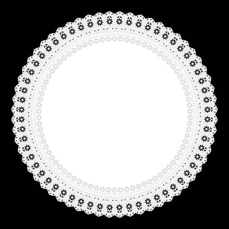 openwork: white openwork napkin on black  Illustration