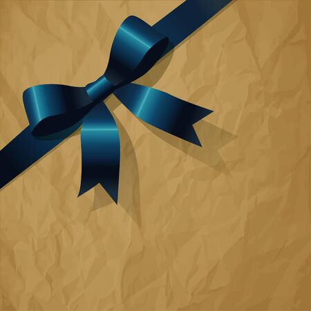 exempted: Blue pearlribbon on a crumpled paper brown  Illustration