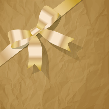 exempted: Gold pearlribbon on a crumpled paper brown background