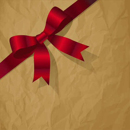 exempted: Red pearlribbon on a crumpled paper brown background