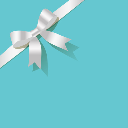 celebration card: White ribbon on a turquoise background pearl Illustration