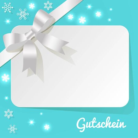 exempted: German Gift Card with ribbon white on a turquoise background snowflakes Illustration