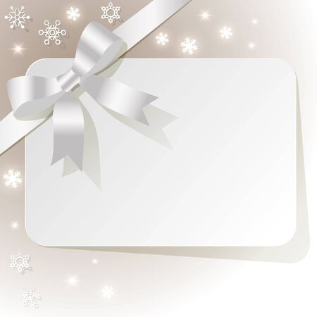 exempted: Gift Card with white ribbon on a beige background with snowflakes
