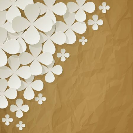 wedding day: Bouquet of lilacs in the corner on a crumpled paper brown background Illustration
