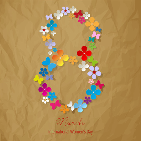 8 March International Women's Day symbol color on a crumpled paper brown background