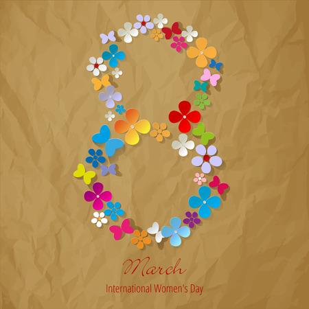 8. März Internationaler Tag der Frau Symbol Farbe auf einem zerknitterten Papier braunem Hintergrund Vektorgrafik