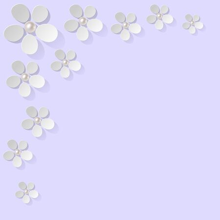 mother of pearl: white flowers pearls in the corner on a light violet background