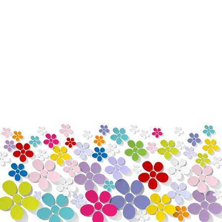 shiny day: banner of flowers on a white background colorful Illustration