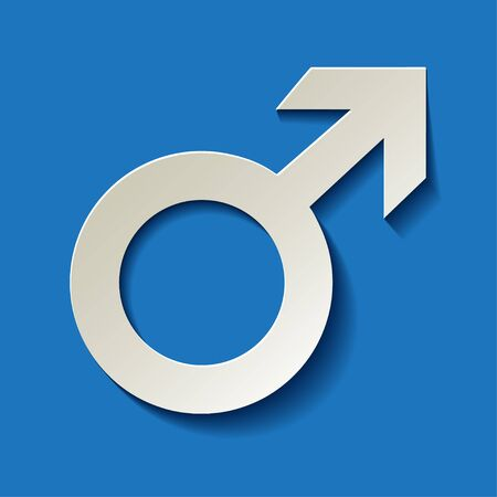 man and woman sex: Mars vector symbol with shadow on a dark blue background