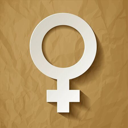 man and woman sex: Venus vector symbol with shadow on a crumpled paper brown background