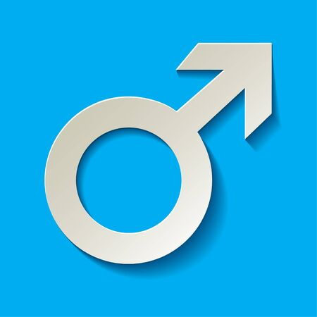 romantic sex: Mars vector symbol with shadow on a light blue background Illustration