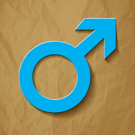 man and woman sex: Mars vector symbol with blue shadow on a crumpled paper brown background Illustration