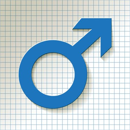 man and woman sex: Mars vector symbol with shadow on a blue checkered paper background