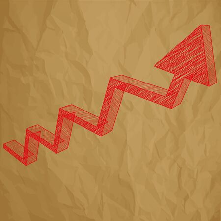 background brown: Arrow Charts analysis 3d red scribble on a crumpled paper brown background