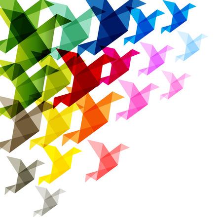 aves: coloridas aves de origami