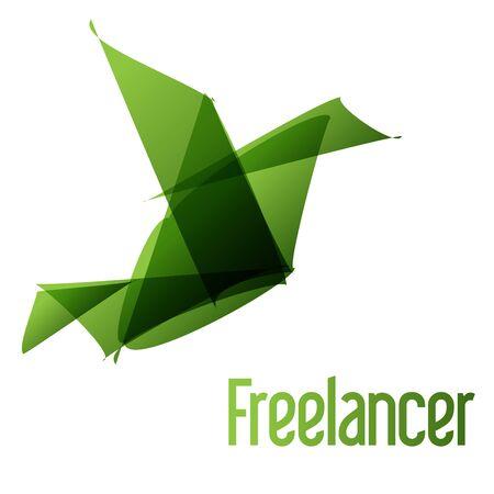 freelancer: Freelancer bird origami green Illustration