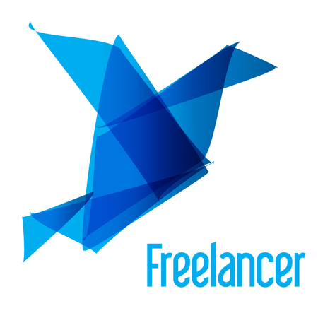 freiberufler: Vogel Origami Freelancer blau