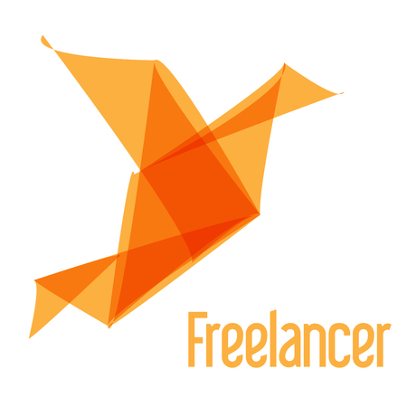 origami bird: Freelancer orange origami bird Illustration