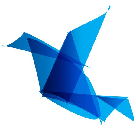 dynamic movement: bird origami logo blue