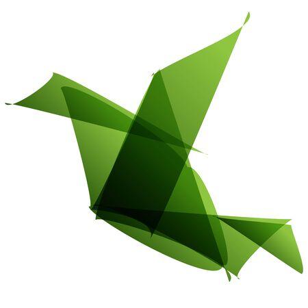 조류 종이 접기 녹색