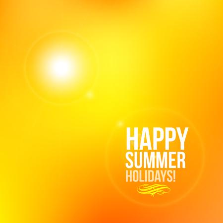 happy summer: Happy Summer Holidays Postcard Beach Sun vector blur Illustration