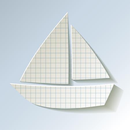 scrapbook background: Sailboat checkered paper on a light blue background Illustration