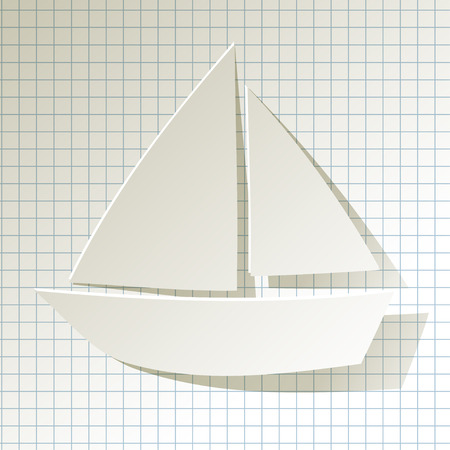 buzzer: Sailboat Paperwhite on a checkered pattern background Illustration