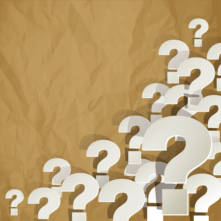 Question Marks in the corner on a crumpled paper brown background