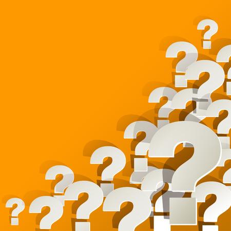 Question Marks in de hoek op een gele achtergrond Stock Illustratie