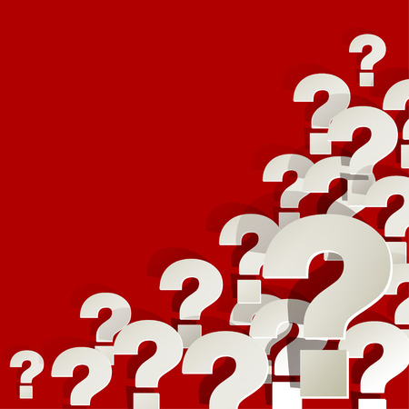correspond: Question Marks in the corner on a red background