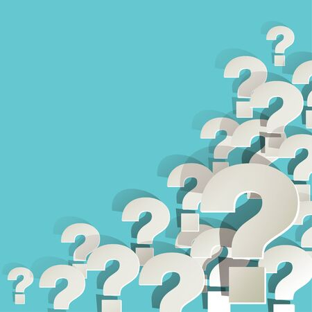 respond: Question Marks in the corner on a turquoise background Illustration